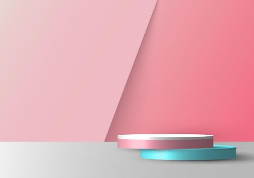 3D realistic empty pink, blue and white round pedestal mockup overlapped on soft pink backdrop