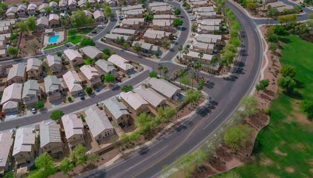 Panoramic view of a neighborhood in roofs of houses of residential area a Avondale near Phoenix Arizona US