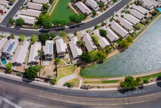 Near Phoenix Arizona Avondale city the aerial panorama view of residential houses neighborhood and apartment complex on USA