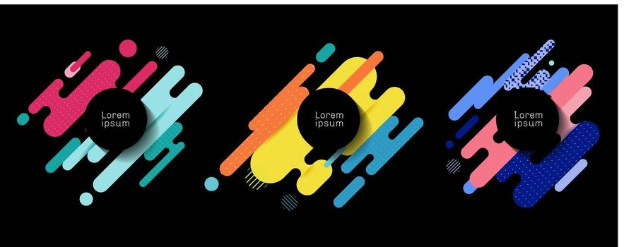 Set of colorful rounded lines shapes diagonal rhythm dynamic composition with black space circle lable background