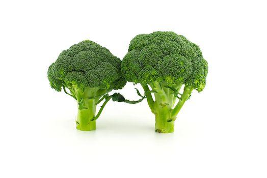 Broccoli florets isolated on white background