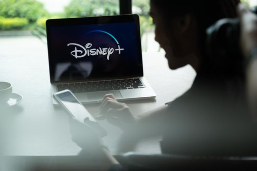 CHIANGMAI, THAILAND - JULY 25 ,2020 : Macbook with Disney plus on screen. Disney+ is an online video streaming subscription service, set to launch in the US