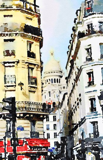 a road junction in the center of Paris and in the background the church of Sacre Coeur