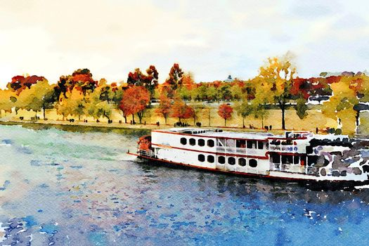 a steamboat on the Seine in Paris in the autumn