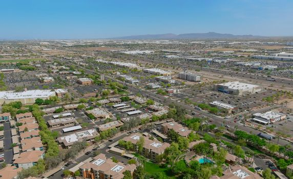 Aerial view of residential district at suburban with mixed new development a Avondale near Phoenix Arizona US