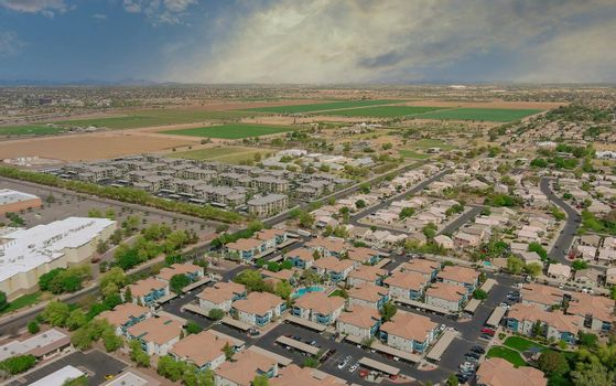 Aerial view desert of a Avondale small town city near of state capital Phoenix Arizona