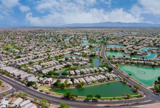 Overlooking view of a small town a Avondale in the desert of Arizona near of state capital Phoenix