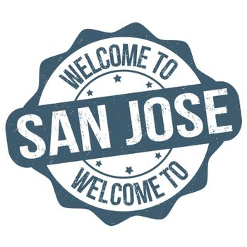 Welcome to San Jose grunge rubber stamp