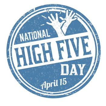 National high five day grunge rubber stamp