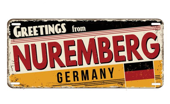 Greetings from Nuremberg vintage rusty metal plate