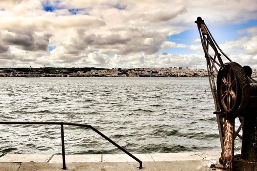 Panoramic of Lisbon city from Almada docks