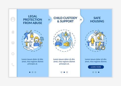 Domestic violence survivors support onboarding vector template