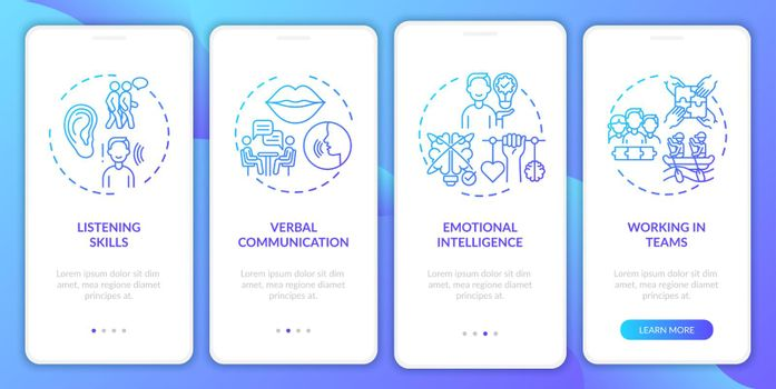 Interpersonal skill self assessment navy onboarding mobile app page screen with concepts
