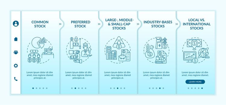 Investment stocks types onboarding vector template