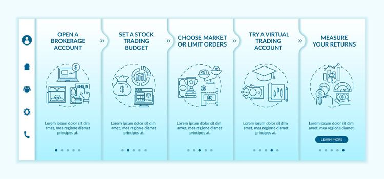 Investing in stock steps onboarding vector template