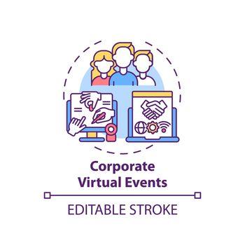 Corporate virtual events concept icon