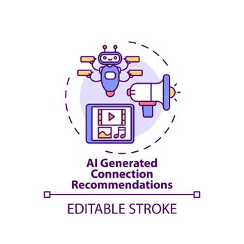 AI generated connection recommendations concept icon