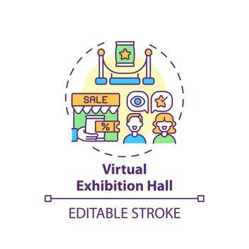 Virtual exhibition hall concept icon