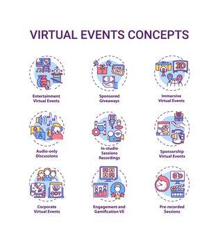 Virtual events concept icons set
