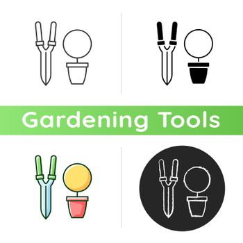 Pruning shears icon. Plant manipulation. Clippers, secateurs. Removing deadheading plants. Horticulture. Trimming scissors. Linear black and RGB color styles. Isolated vector illustrations