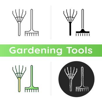 Rake icon. Gathering leaves and grass together. Hand-rakes. Long-handled garden tool. Raking hay. Cleaning up dead plants. Linear black and RGB color styles. Isolated vector illustrations