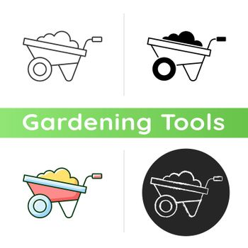 Wheelbarrow icon. Small opencart. Hand-propelled vehicle. Construction industry. Large shrubs, stones, weeds transportation. Linear black and RGB color styles. Isolated vector illustrations