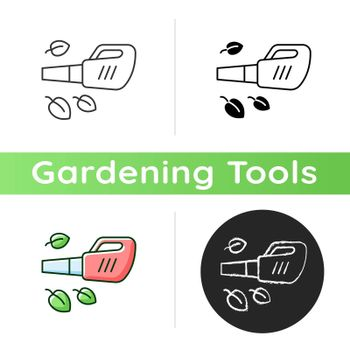 Leaf blower icon. Gardening tool. Getting leaves and grass cuttings out lawn. Garden clean-up task. Electric blower. Yard vacuum. Linear black and RGB color styles. Isolated vector illustrations