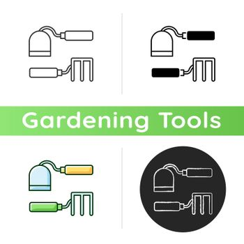 Hoe and fork hoes icon. Garden cultivating, weeding. Hoeing between seedlings. Garden hand tool. Elimination weeds with roots. Linear black and RGB color styles. Isolated vector illustrations