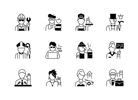 Social status black linear icons set. Lower and upper class. Political elite. Intelligentsia, aristocratic group. Computer expert. Glyph contour symbols. Vector isolated outline illustrations