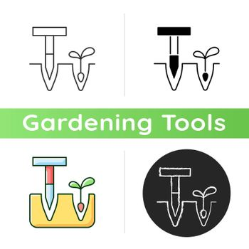 Dibbler icon. Pointed wooden stick. Holes and furrows creation. Preparation flower bed. T-handled dibber. Planting small bulbs. Linear black and RGB color styles. Isolated vector illustrations