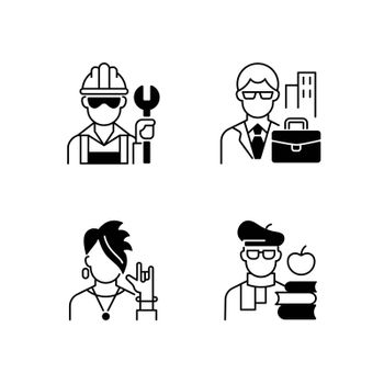 Social classification black linear icons set. Blue and white collar workers. Subculture group. Intelligentsia class. Classes in society. Glyph contour symbols. Vector isolated outline illustrations