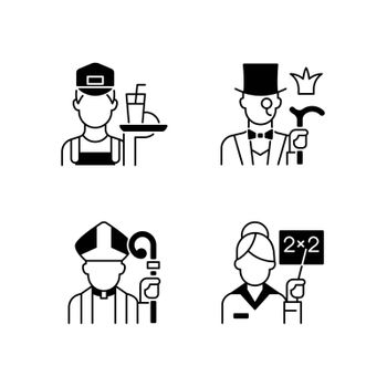 Social class type black linear icons set. Working poor. Aristocratic elite. Clergy, pink collar. Society classification. Glyph contour symbols. Vector isolated outline illustrations