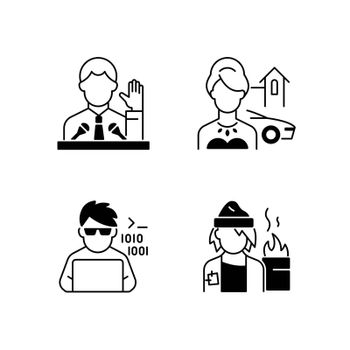 Social status type black linear icons set. Political elite. Upper and lower class. Programmer, computer expert. Glyph contour symbols. Classes in society. Vector isolated outline illustrations