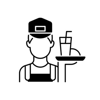 Working poor black linear icon. Waiter holding platter with fast food. Underpaid worker. Part time job. Serving class. Social group. Outline symbol on white space. Vector isolated illustration