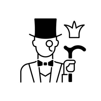Aristocratic elite black linear icon. Posh gentleman with monocle. Rich person, wealthy victorian man. Upper social class. Outline symbol on white space. Vector isolated illustration