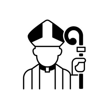 Clergy black linear icon. Male catholic priest. Vatican pope. Religious figure. Christian church pastor. Social class and status. Outline symbol on white space. Vector isolated illustration