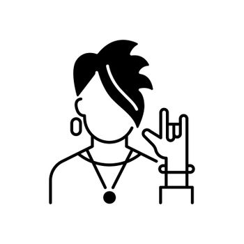 Subcultures black linear icon. Rocker style. Punk clothing on teenager. Adult with goth appearance. Social group, society category. Outline symbol on white space. Vector isolated illustration