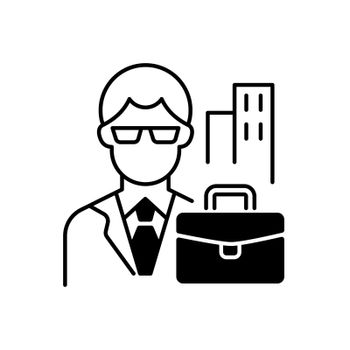 White collar worker black linear icon. Professional businessman, executive management employee. Office job, corporate employee. Outline symbol on white space. Vector isolated illustration