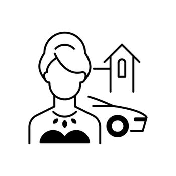 Upper class black linear icon. Woman of high status in society. Luxury lifestyle. Party for wealthy, rich person. Social type. Outline symbol on white space. Vector isolated illustration