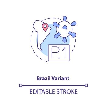 Brazil variant concept icon. New type of corona virus. Illness improving due to different conditions. Covid idea thin line illustration. Vector isolated outline RGB color drawing. Editable stroke