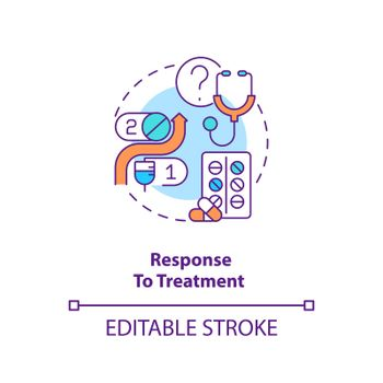 Response to treatment concept icon. Dealing with corona virus pandemic. Way to treat covid problems idea thin line illustration. Vector isolated outline RGB color drawing. Editable stroke