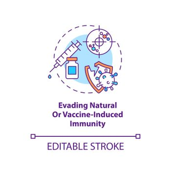 Evading natural or vaccine induced immunity concept icon. Fighting world pandemic problem. Covid virus idea thin line illustration. Vector isolated outline RGB color drawing. Editable stroke