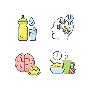 Daily health care RGB color icons set. Drinking enough water. Learning new skills. Practicing mindfulness. Healthy breakfast. Self improvement. Change lifestyle. Isolated vector illustrations