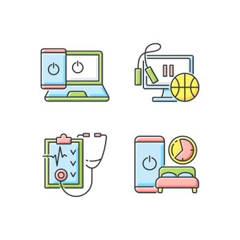 Healthy lifestyle RGB color icons set. Going offline. Exercise break. Regular health checkup. Sleep hygiene. Self improvement, personal development. Change lifestyle. Isolated vector illustrations