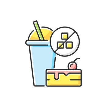 No added sugar RGB color icon. Healthy food. Weight loss. Stop overeating. Unhealthy junk food. No sweeteners. Nutritious diet. Nourishment and self care. Isolated vector illustration
