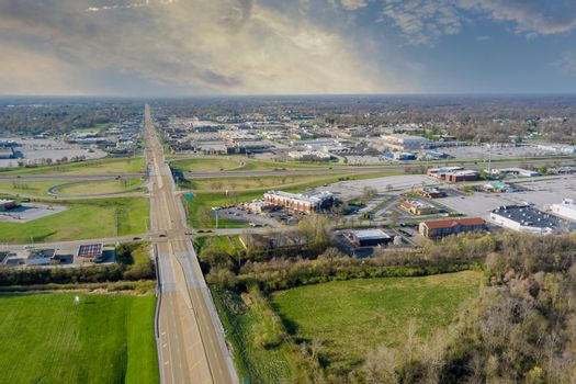 Overlooking view of a small town a Fairview Heights in the highways, interchanges of Illinois USA