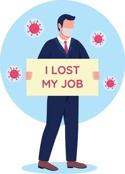 Unemployment problem during pandemic outbreak flat concept vector illustration