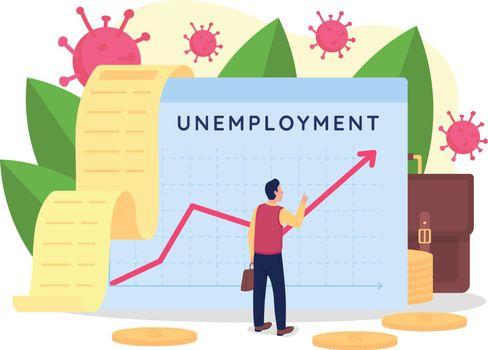 Rising unemployment rate flat concept vector illustration