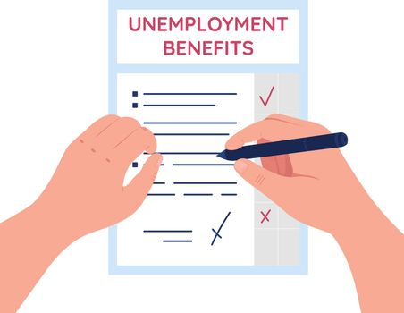 Unemployment benefits flat concept vector illustration