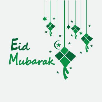 Eid mubarak background with ketupat,crescent and stars for celebrate eid ul fitr or eid ul adha - Vector illustration